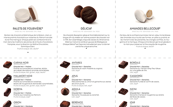 Discover all chocolate bonbons in Palomas coffrets